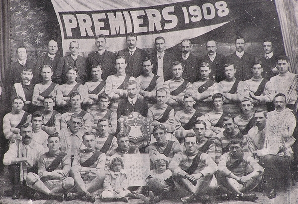 Yarraville Football Club - Premiers 1908.  Doug Fraser is in the top row of uniformed players; 3rd from the right.  Years later Fraser would join Carlton and be well remembered for the controversy that followed...