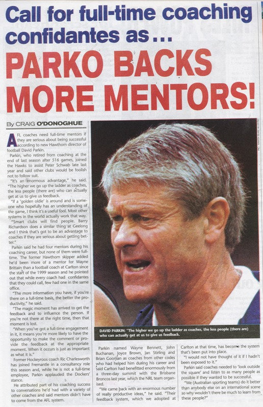 2001 - David Parkin article (28/02/01).
