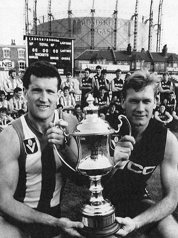 1986 Courage Cup - Opposing Captains Mark Maclure & Ross Glendinning.