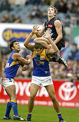 Walker flies for a screamer (which he dropped) on debut in Round 5, 2004